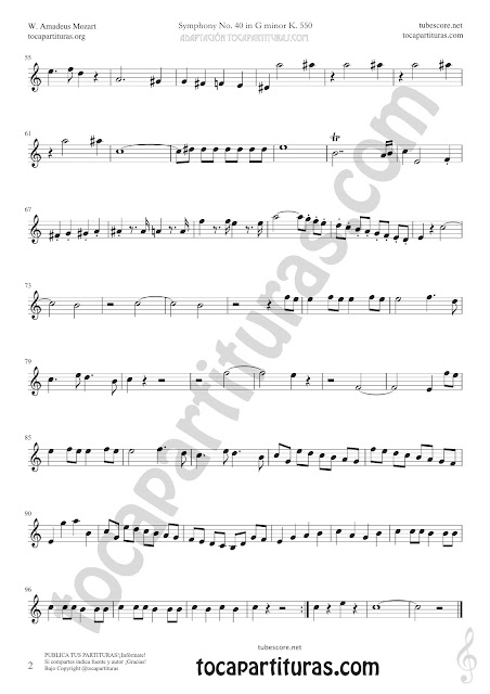 2  Symphony Nº40 de Mozart Sheet Music for Clarinet Music Scores