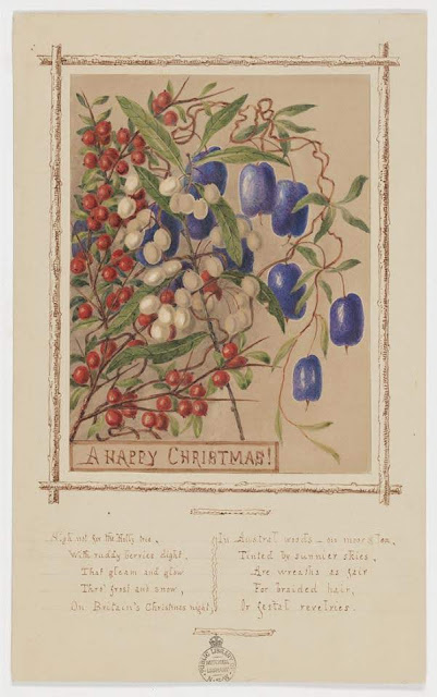 """Christmas Card design depicting Tasmanian purple, white and red berries with the words """"A Happy Christmas""""."""