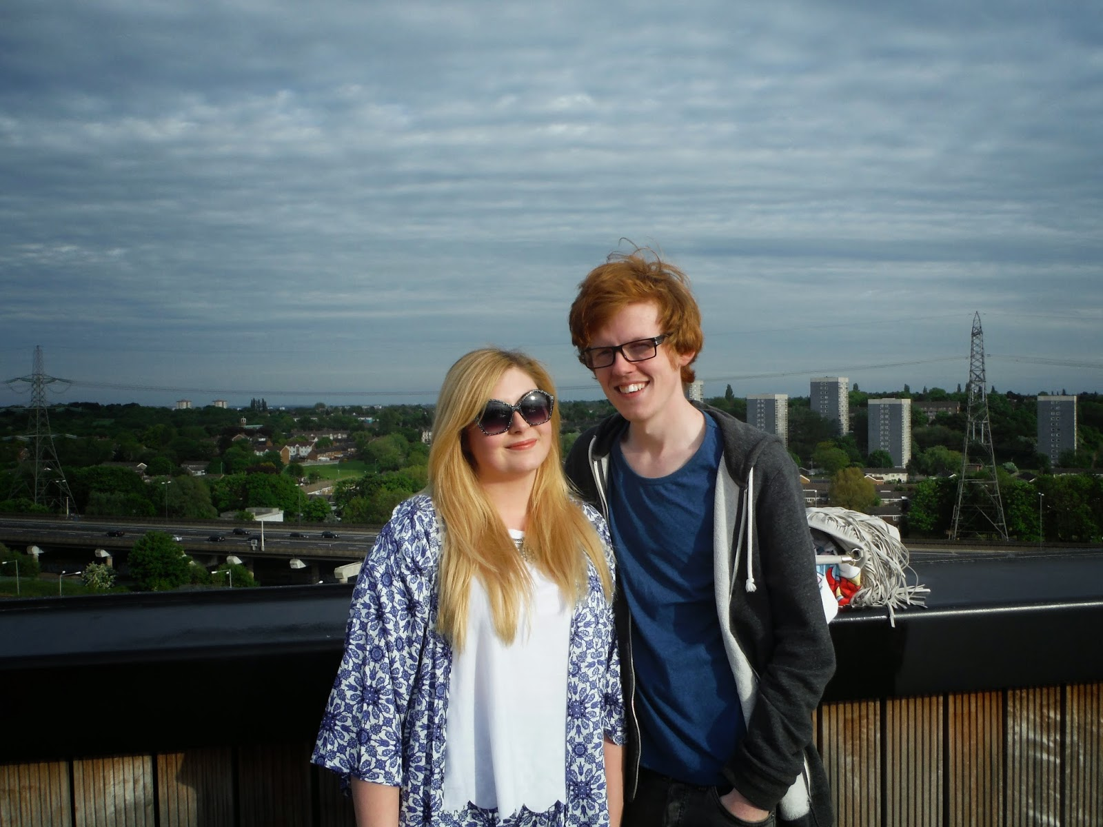 My self and Sean on the Roof of Fort Dunlop with Birmingham in the background