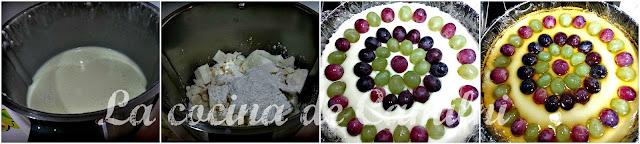 Tarta de queso y uvas con gelatina de moscatel (La cocina de Camilni)
