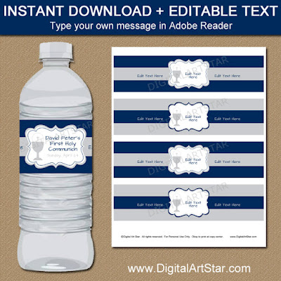 editable 1st Communion water bottle labels in Navy and Gray for a boy's First Communion