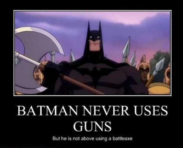 amusing image of Batman with an axe