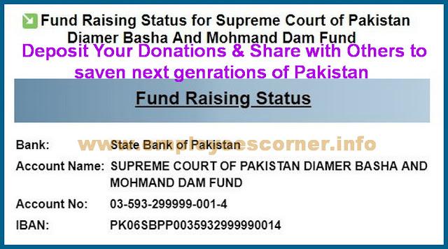 Fund Raising Status for Supreme Court of Pakistan Diamer Basha Dam
