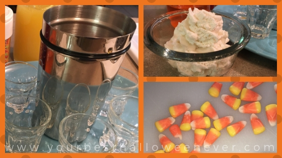 collage of ingredients used in candy corn shot recipe