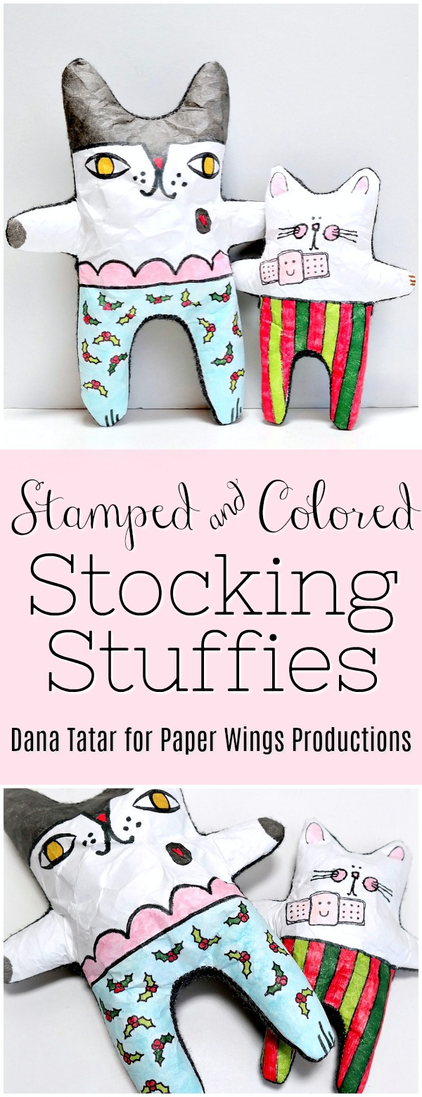 Stamped and Colored Stocking Stuffies for Christmas Tutorial by Dana Tatar for Paper Wings Productions
