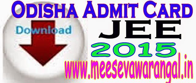 Odisha JEE Admit Card/Hall ticket 2018 Download