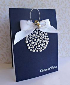 Handmade Christmas Blue Ball Card