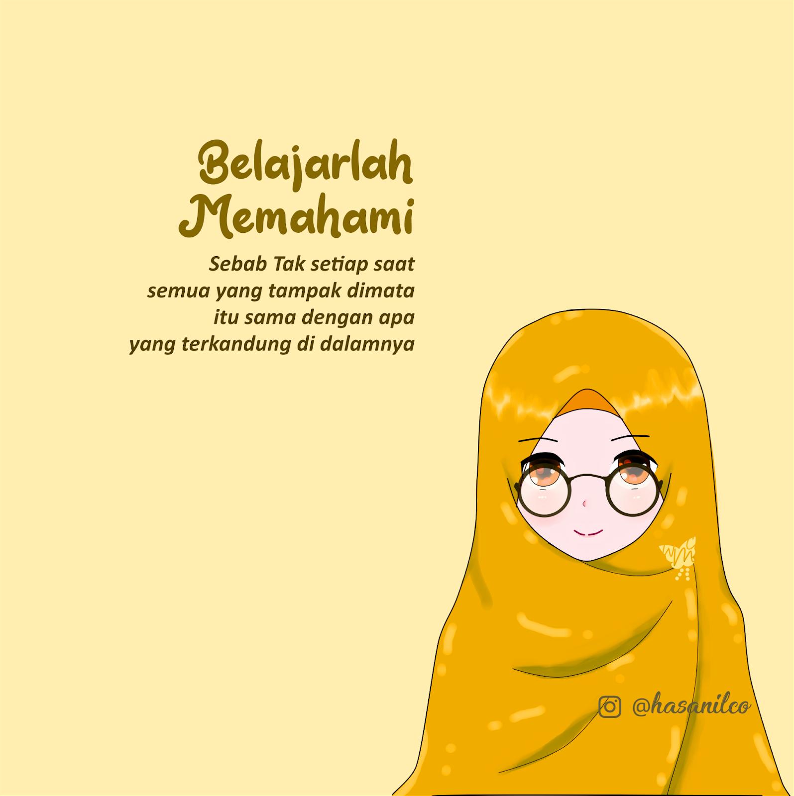 Wallpaper Gambar Kartun Wanita Muslimah Cantik Terbaru Dunia Belajar