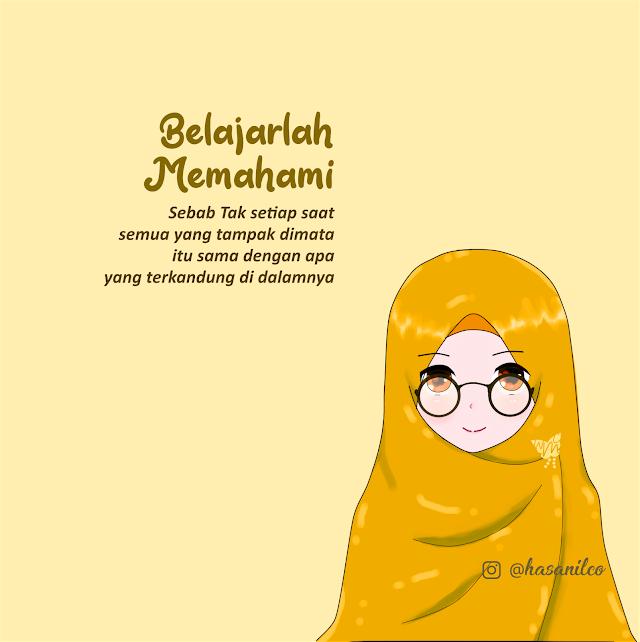 Wallpaper Gambar Kartun Muslimah Cantik Banget Terbaru Berkacamata