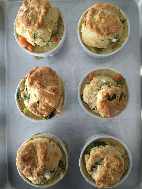 A Bountiful Kitchen: Mini Chicken Pot Pies with Herb and Cheese Biscuit Toppers