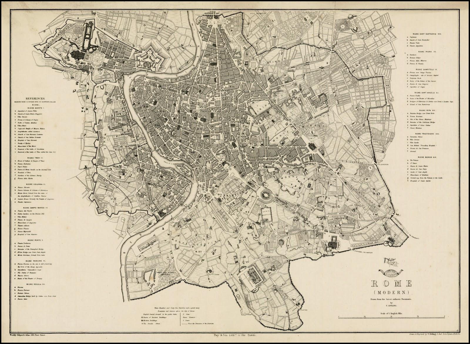 Cartina D Roma.Rerum Romanarum Mappa Di Roma Ettling Day Son 1860