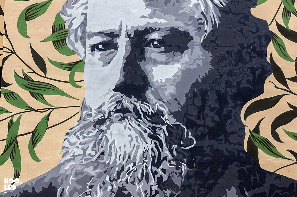 Walthamstow's William Morris Portrait Mural by ATMA