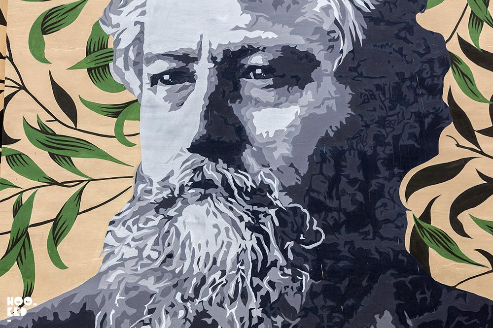 Walthamstow's William Morris Portrait Mural by ATMA