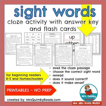 sight words, teaching resources, MrsQuimbyReads