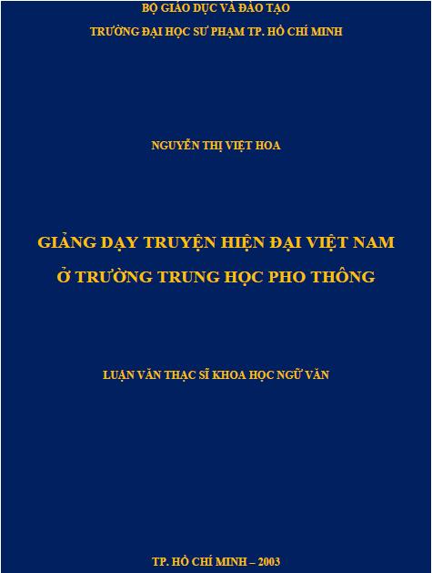Giảng dạy truyện hiện đại Việt Nam ở trường trung học phổ thông