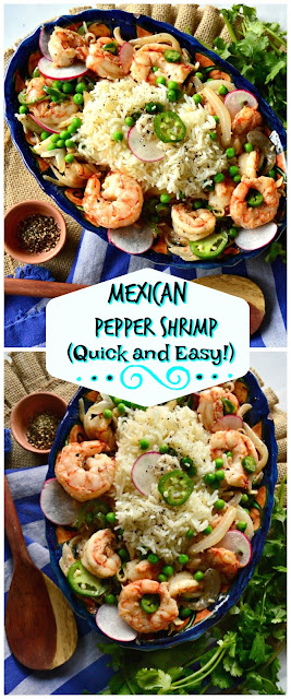 This quick and easy, ready in 20 minutes, Mexican pepper shrimp is made with onions, garlic, fresh green chilies and lots of black pepper. You may think this is over the top spicy, but the onion and garlic mellow it out! #shrimp #Mexicanrecipes #QuickDinners www.thisishowicook.com