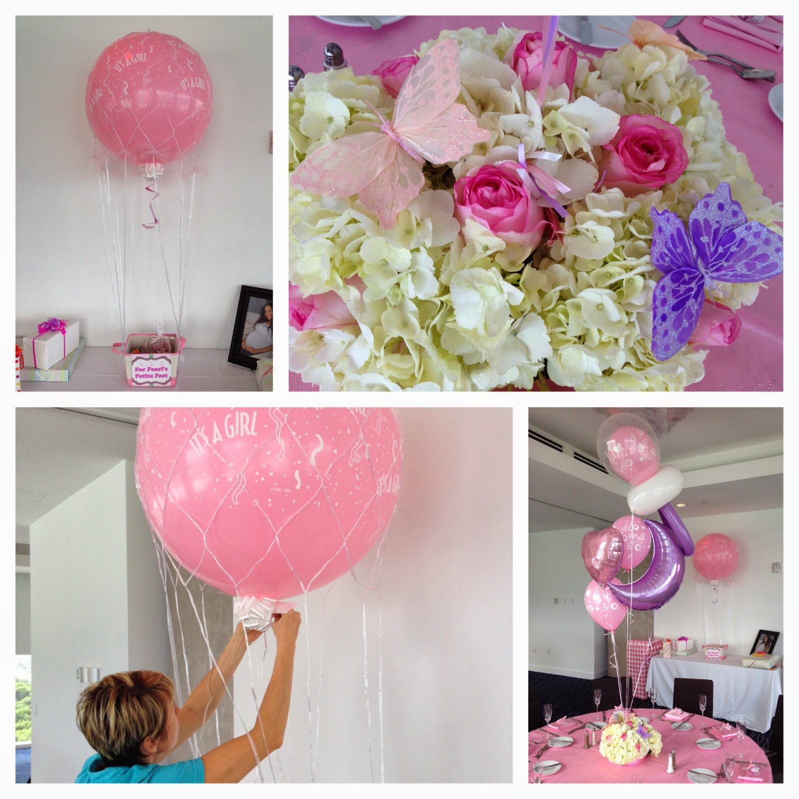 Baby shower decoration with pacifier balloon and flowers