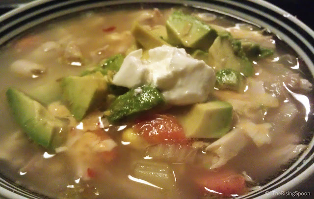 The Rising Spoon Blog: White Chicken Chili  Topped with Avocado and Sour Cream & Green Chile Cornbread Muffins