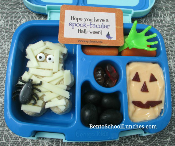Mummy Halloween bento. I used a bear shaped cookie cutter to create the mummy.