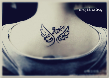 Initials With Angel Wings Tattoo Designs