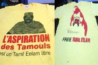 T-shirt with Velupillai Prabhakaran's image printed Found in kandy