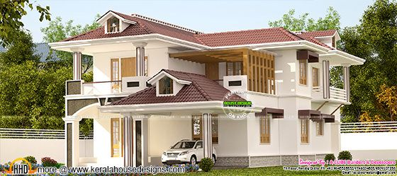 3144 sq-ft modern mix Kerala home