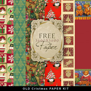 Freebies Old Cristmas Paper Kit.
