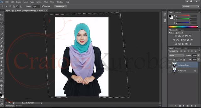 Cara Seleksi atau Memotong Gambar Menggunakan Polygonal Lasso Tool
