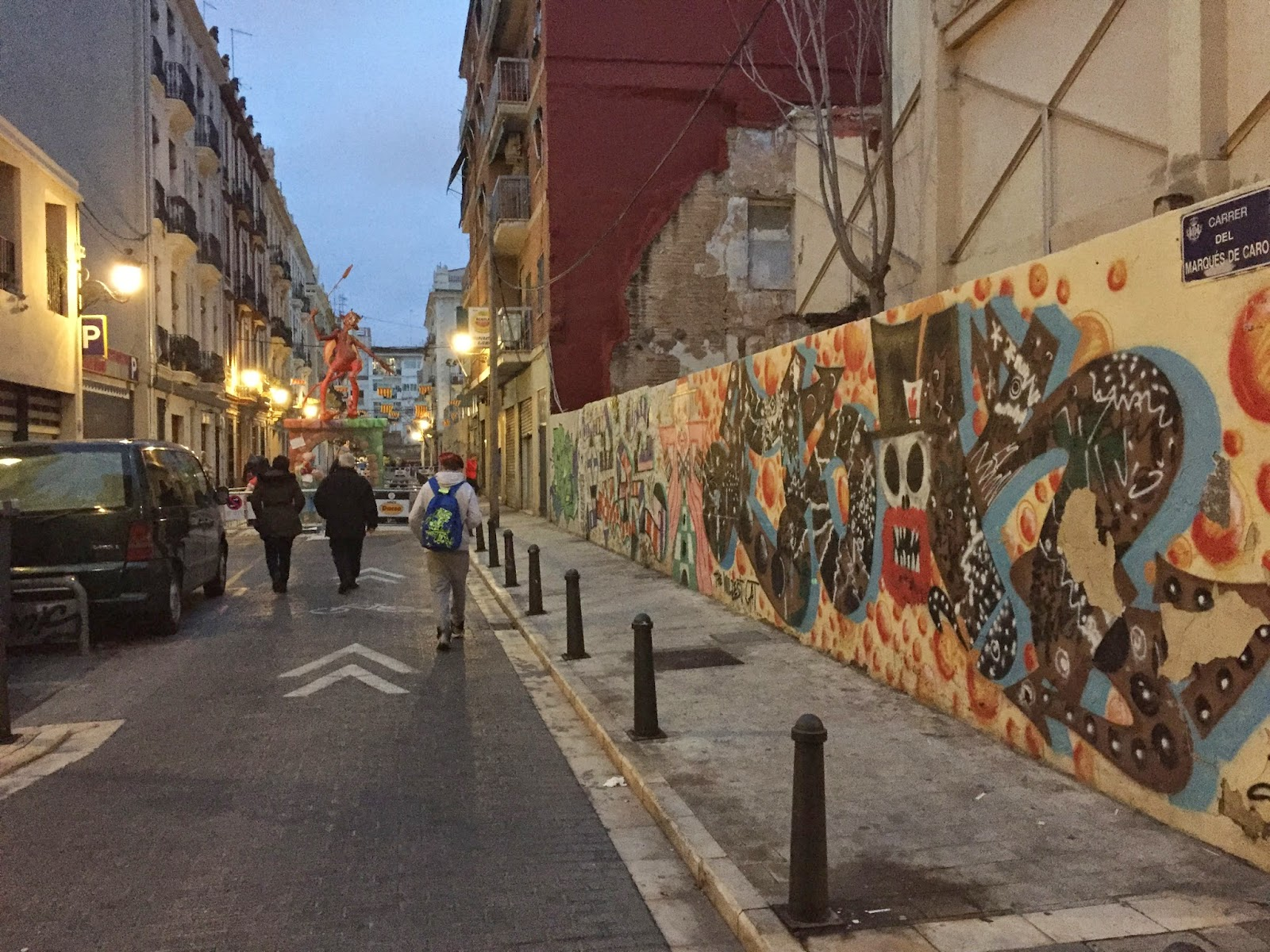 Really cool street art and a ninot in the distance