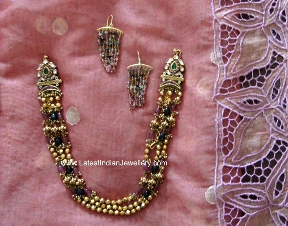antique gold beads necklace
