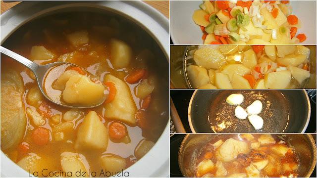 Cocido Invernal. Patatas, puerros y zanahoria.
