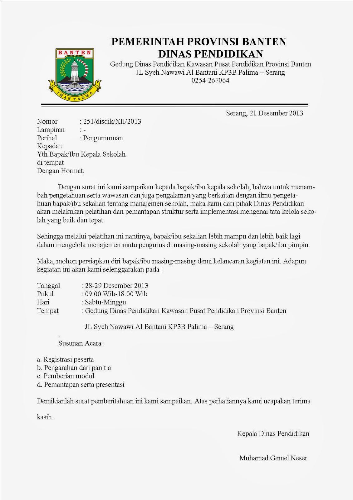 Contoh Surat Dinas Undangan Ketua Osis Surat G