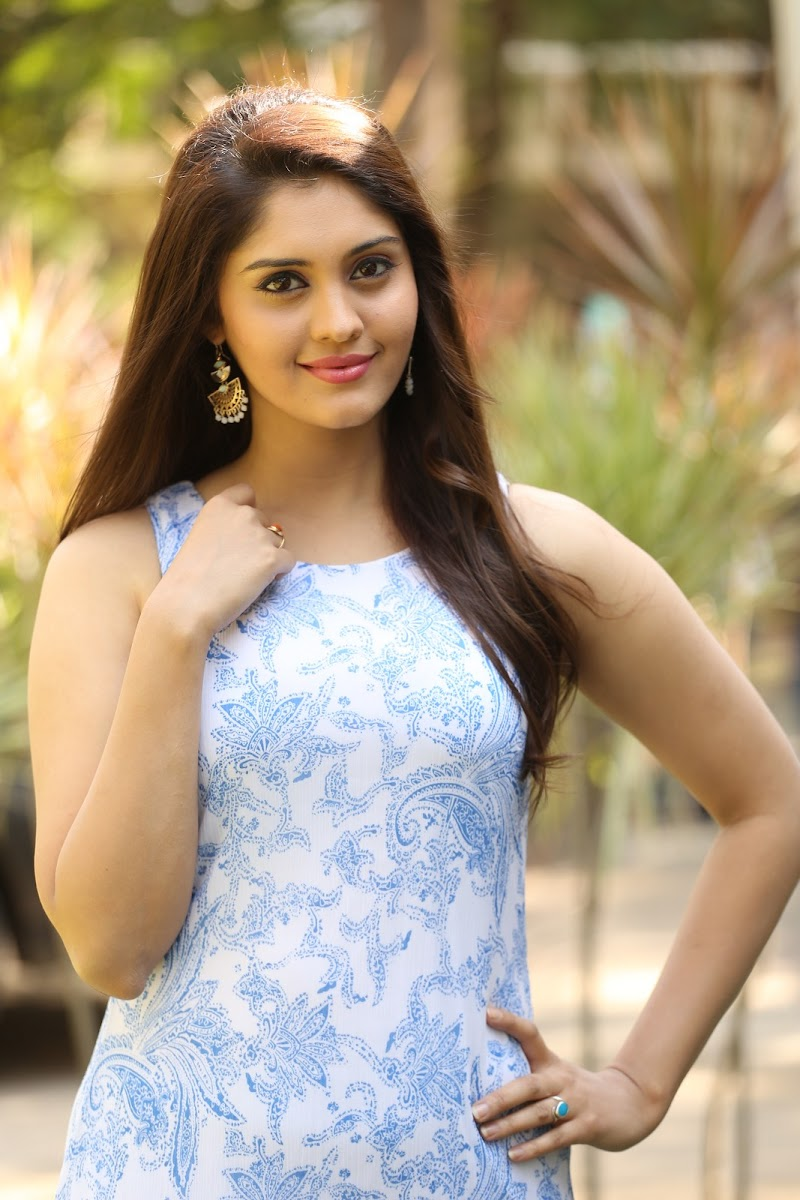 Surbhi In Sky Blue Floral Dress Photoshoot - South Indian Actress-3588