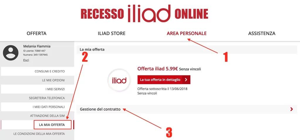 recesso scheda iliad online dall'area riservata ai clienti