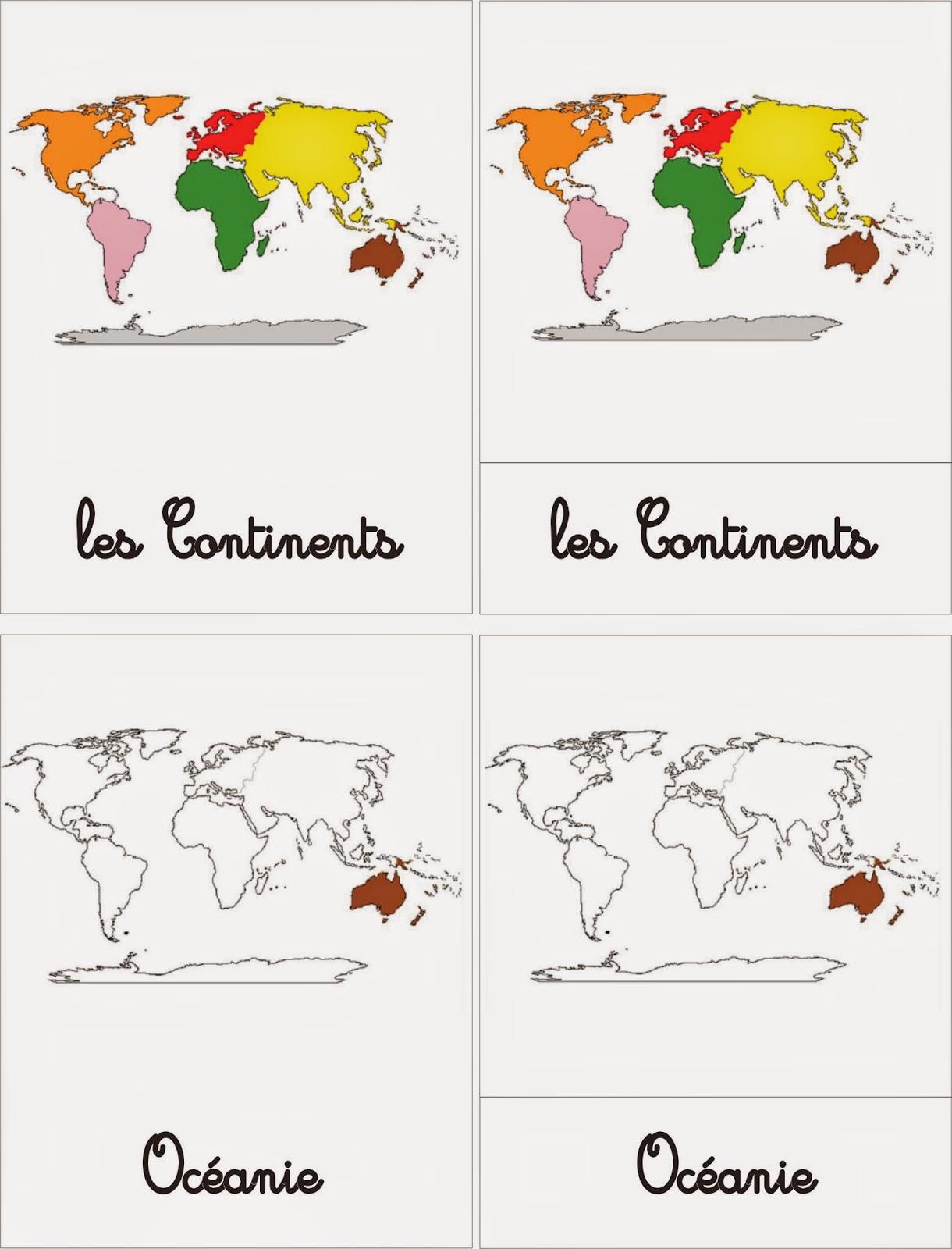 Ma Petite Fabrique Montessori Les Continents Et Oceans