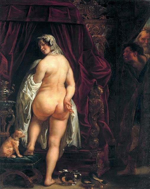 Jacob JORDAENS - Re Candaule di Lidia mostra la propria moglie a Gige - erotic art