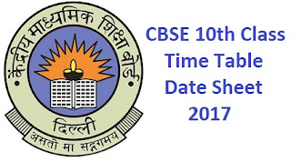 CBSE 10th Time Table