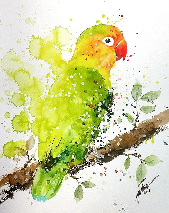 13-Lovebird-Tilen-Ti-Colorful-Watercolor-Paintings-of-Animals-www-designstack-co