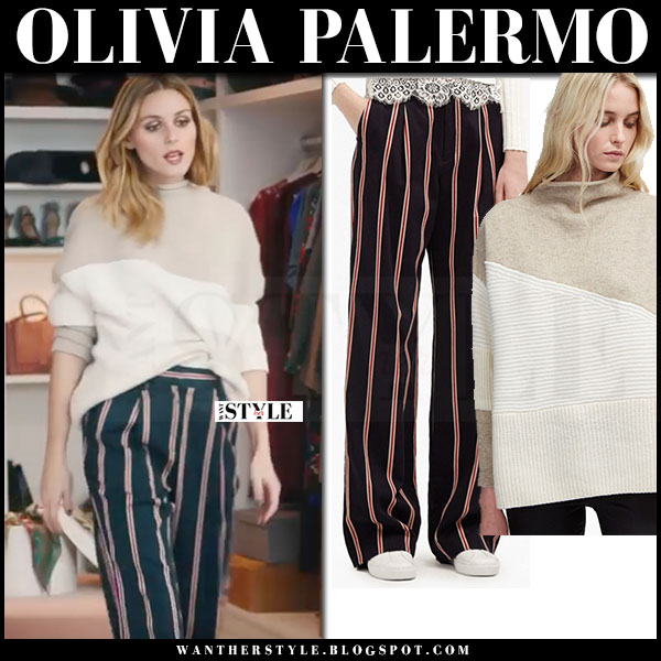 Olivia Palermo in two tone beige sweater and striped pants french connection what she wore