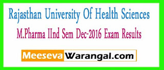 Rajasthan University Of Health Sciences M.Pharma IInd Sem Dec-2016 Exam Results