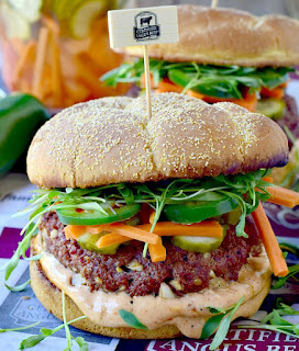 Love the bright flavors of a Bahn Mi sandwich but you're craving a juicy burger? Why not combine the best of both worlds with this crazy, out of this world Bahn Mi Burger? #sandwich #Burger #bahnmi #beef #bbq #grilling #recipe | bobbiskozykitchen.com