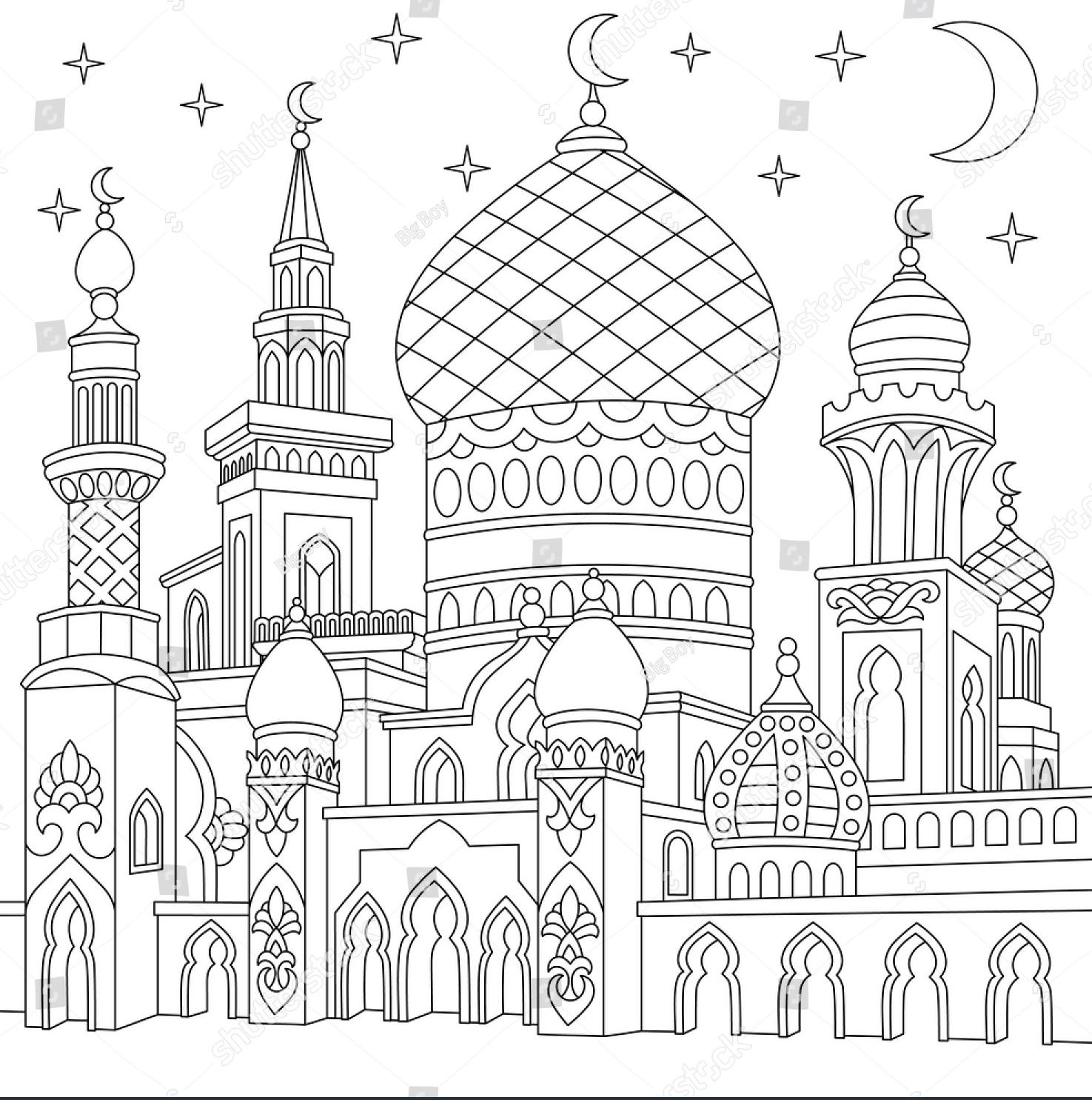 Sketsa Masjid Warna Related Keywords Suggestions Sketsa Masjid