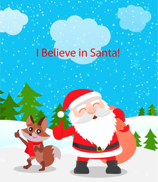 Christmas background design with santa claus and fox Free vector file templates