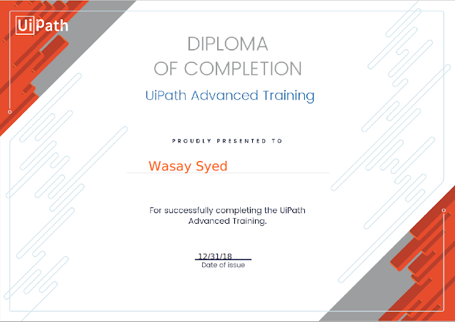 UiPath - Diploma Of Completion - UiPath Advanced Training