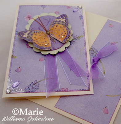 Purple lilac butterfly handmade card design