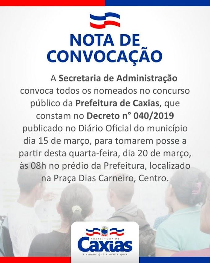 INFORME - Nomeados no concurso público da Prefeitura de Caxias tomarão posse a partir desta quarta(20)