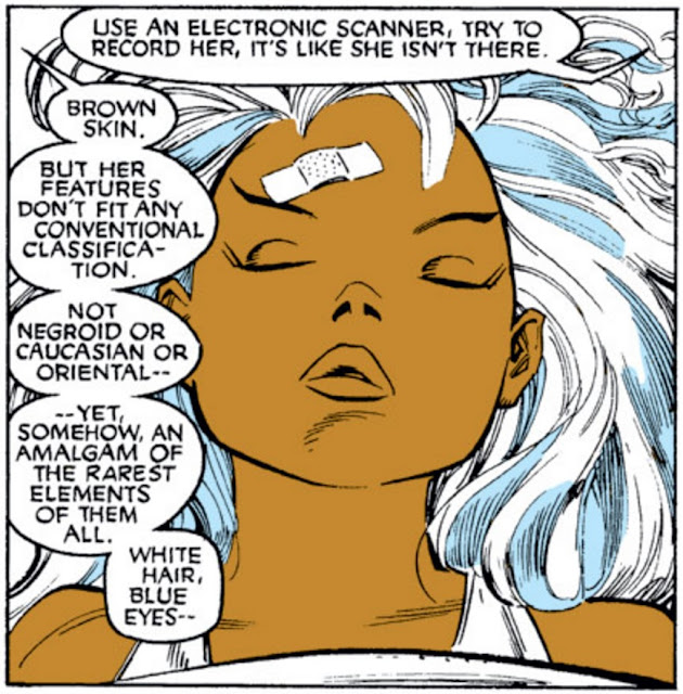 A single panel of a sleeping, youthful Storm. Someone off-panel says, 'Use an electronic scanner, try to record her, it's like she isn't there. Brown skin. But her features don't fit any conventional classification. Not negroid or caucasian or oriental--yet somehow an amalgam of the rarest elements of them all. White hair, blue eyes--'
