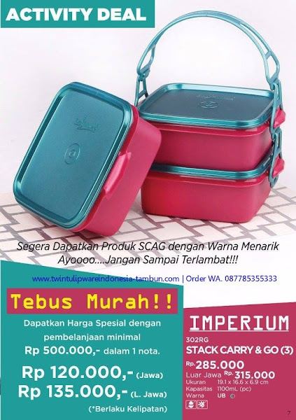 Tebus Murah Tulipware November 2017, SCAG, Stack Carry And Go, Imperium