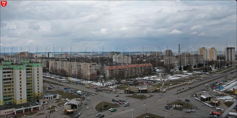 Минск. Вид с гостиницы 'Орбита' на улицу Притыцкого-проспект Пушкина. Панорама