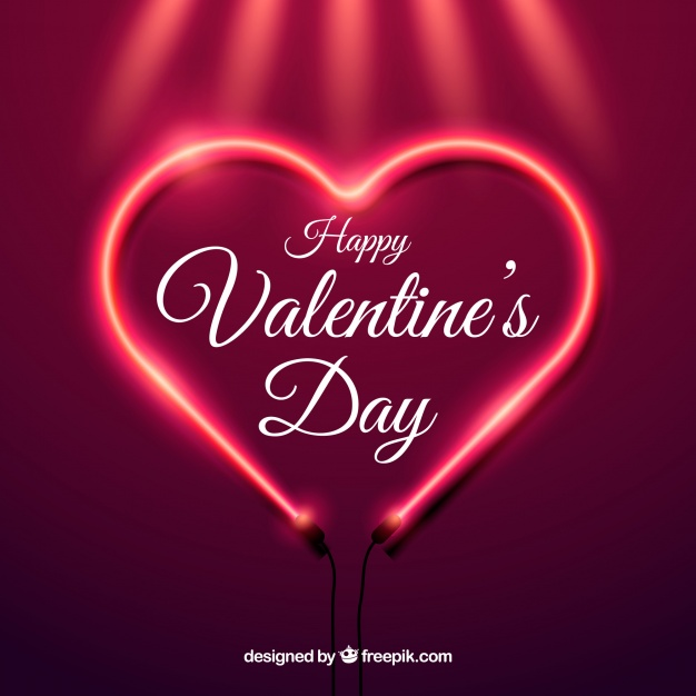 Realistic valentine's day background with neon light Free Vector